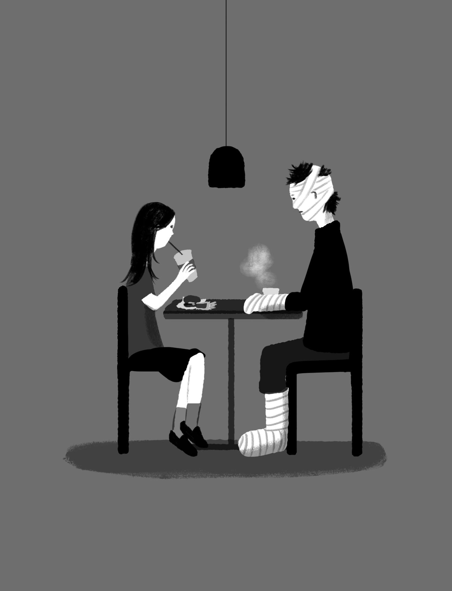 少女と包帯の男